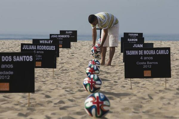 Names of children killed by stray bullets in pre-#WorldCup2014 police raids on favelas #Brazil   #NaoWorldCup  http://t.co/AH0RVbWlxT