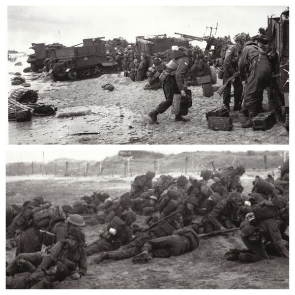 The 3rd British Division lands on Sword Beach. Heavy fighting slows their progress: http://t.co/6PVXHpvhZi #DDay70 http://t.co/yQBj3V9eMR