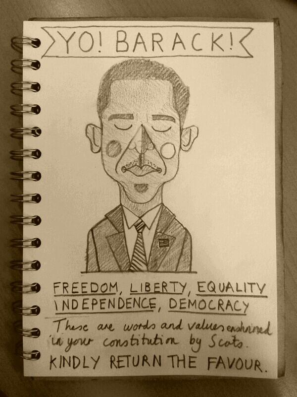 """Dear @BarackObama"" - a lunchtime doodle with love from an aspiring Scotland #indyref http://t.co/Hi8oVz1B5z"