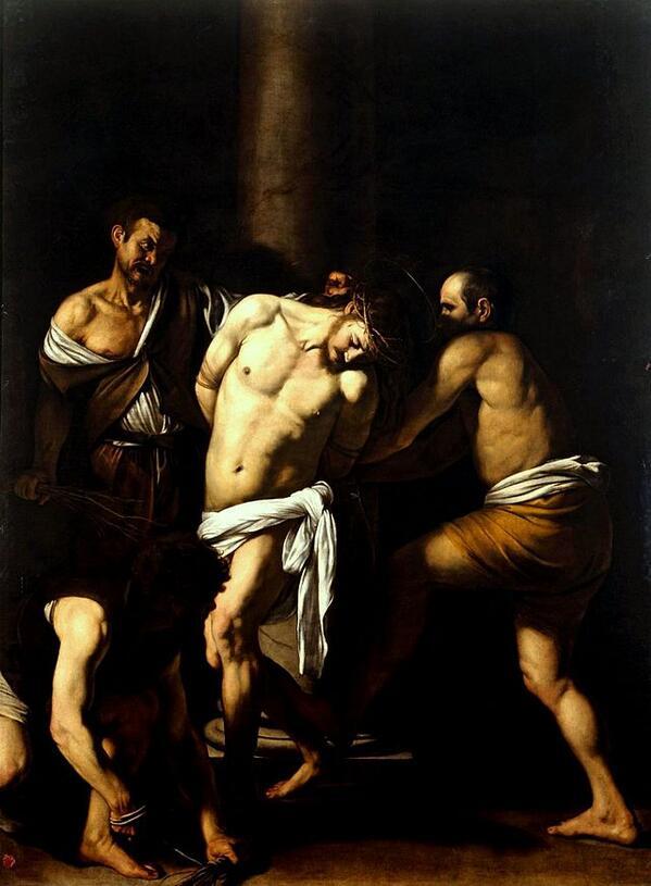 Caravaggio, Flagellazione di Cristo, 1607 ca. Olio su tela, 134.5 x 175.5 cm. Napoli, Museo di Capodimonte. http://t.co/vmEMDZS1HI