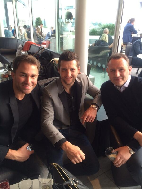 Celebration time! @Carl_Froch @EddieHearn & Robert McCracken http://t.co/T2pY7N8jGx