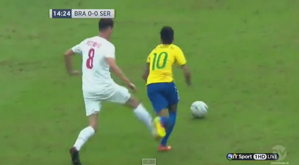 BpeOK2hCYAA5Fga Filthy! Serbias Petrović cynically kicks Brazil Neymar from behind, rightly booked [Video]