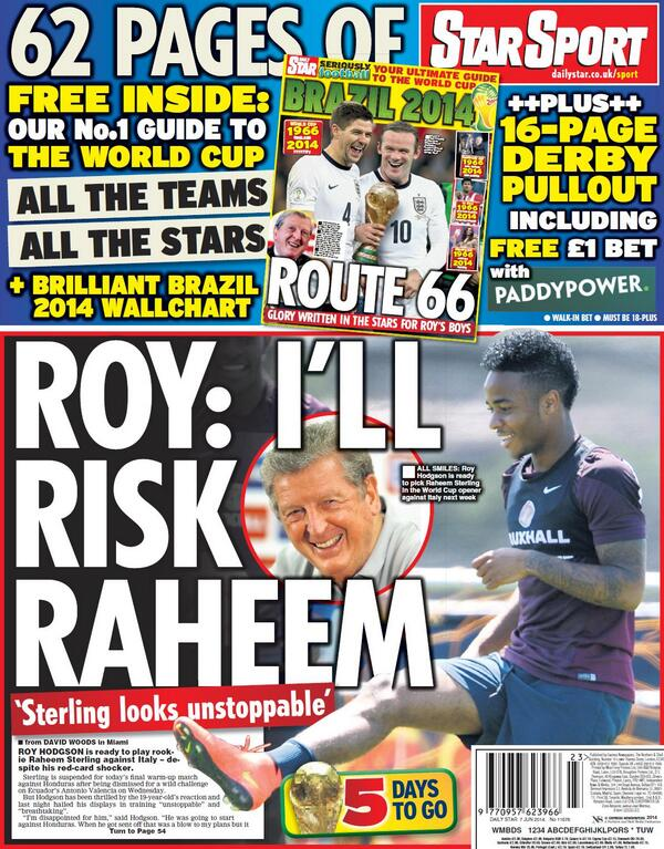 BpeifdfIMAAI8SU Roy Hodgson ready to risk unstoppable and breathtaking Raheem Sterling in the World Cup [Backpages]