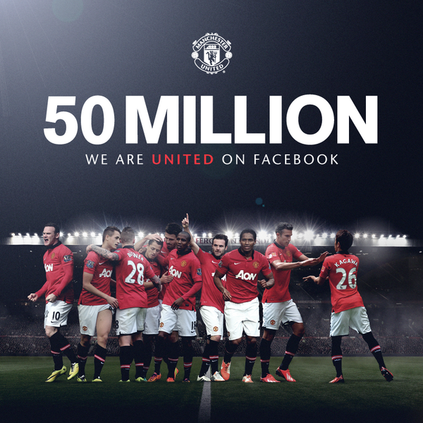 Manchester United reaches 50m followers on Facebook: http://t.co/ZzimPBSZKr http://t.co/Og5G2DooxN