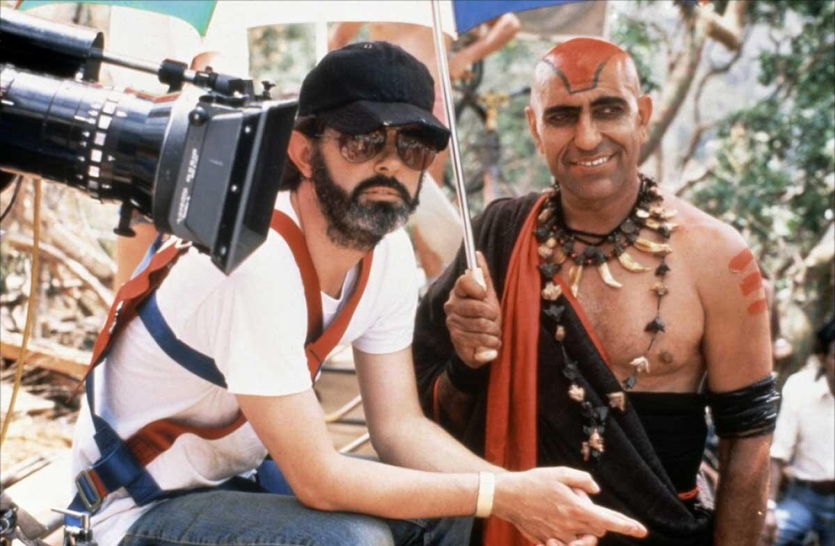George Lucas and Amrish Puri on the set of Indiana Jones and the Temple of Doom http://t.co/OZavWkFH1V