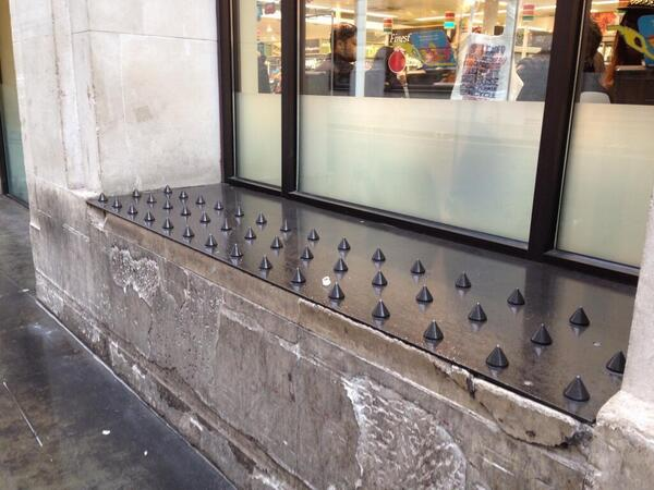 More anti-homeless people studs, @Tesco Regent's Street. http://t.co/jnxLiCr5nn