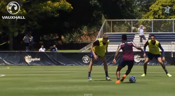 BpidU9lCUAAsZ0P Liverpools Raheem Sterling scores lovely stepover goal at England training from a Rooney assist [Video]