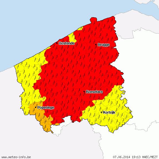 Code rood voor West-Vlaanderen en al zuidwestelijk deel van Zeeland http://t.co/5Vrijz5QYf