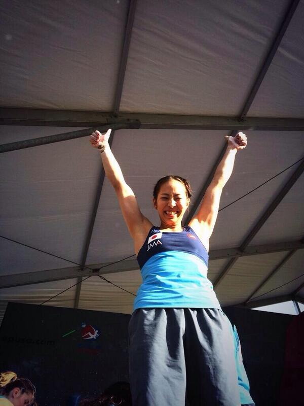 やった-----!!!!! 2連勝----------!!!!!!!!  WCBベイル優勝しました\(^o^)/  予選、準決勝、決勝全完登★ 自分のWORLDCUP人生で最高の登り。クライミングやっててよかったー。最高に気持ちいい! http://t.co/JLRbUlci5C