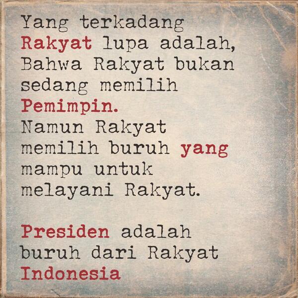 Ingat! Rakyat bukan cari Pemimpin, tetapi mencari Buruh untuk Rakyat! http://t.co/EB3ckZANzM