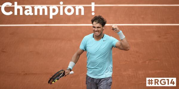 Un-de-NINE-able! @RafaelNadal captures a record 9th RG crown with a 3-6, 7-5, 6-2, 6-4 win over Novak #Djokovic #RG14 http://t.co/ICPMy6xhpJ