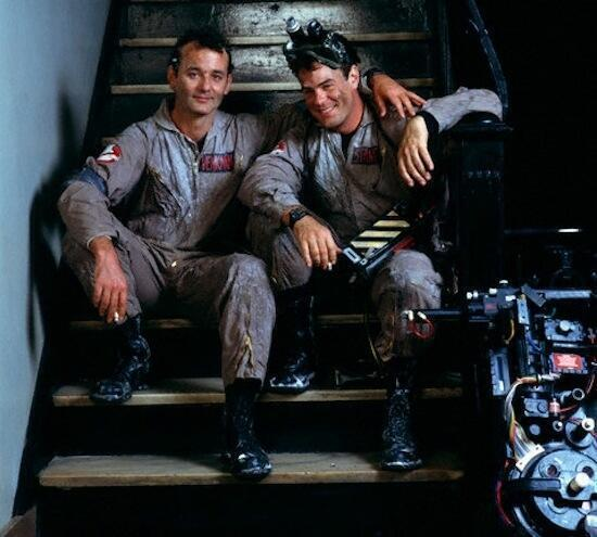 Bill Murray and Dan Aykroyd taking a break on the set of Ghostbusters http://t.co/sUixpHcVpS