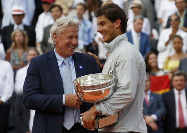 The clay legends smiling! #RafaNadal #BjornBorg #RolandGarros #RG14 (Reuters / Jean Paul Pellisier) http://t.co/OiRpcb7CGN