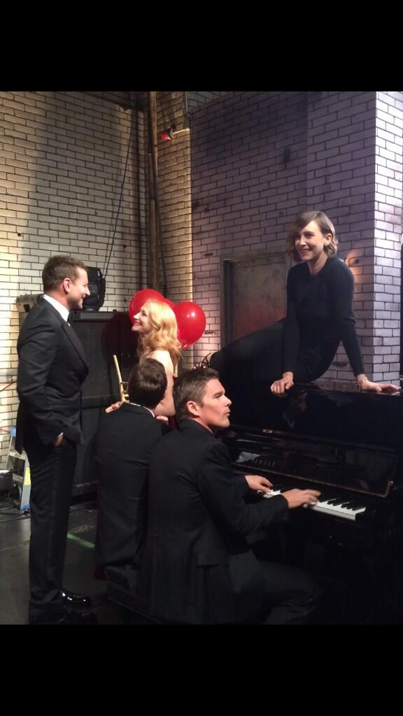 Vera Farmiga, Bradley Cooper, and Ethan Hawke joke around backstage before going on to present! http://t.co/AiORsUbefV