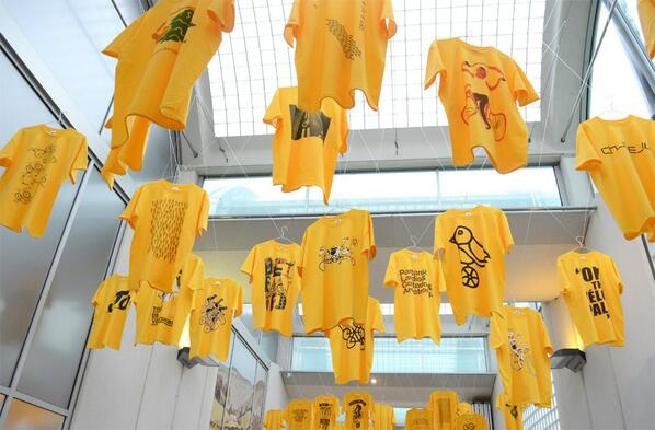 pic of the fantastic @madenorth Yorkshire in Yellow display @MuseumSheffield it looks BRILL! proud to be part of it! http://t.co/giQgLjzmvL