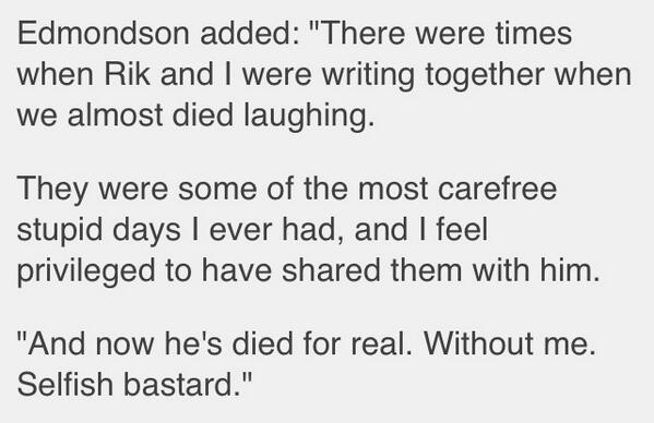 This is brilliant - Ade Edmondson judging the tone to perfection. http://t.co/xfev9dkE0r