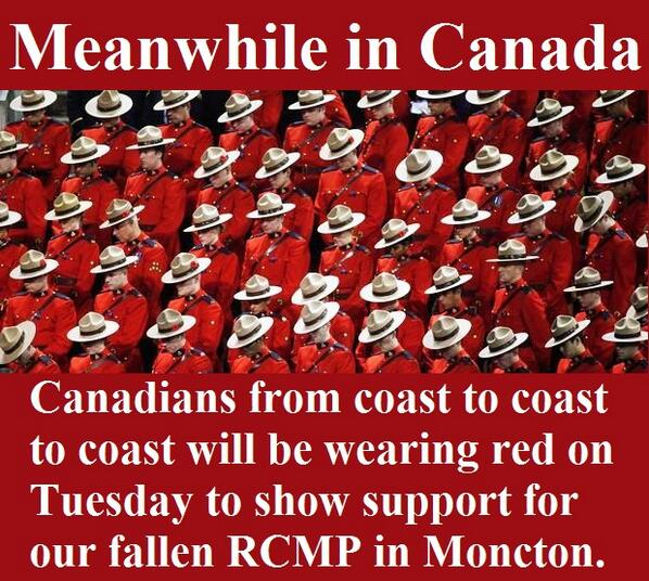 .@couragesings @PETE255 @Sanling_Shines #CoastToCoast via @MeanwhileinCana: #WearRed for the @RCMPNB tomorrow http://t.co/CbTHWYIDZa