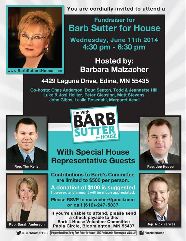 Peter Glessing (@PGless): Join @NickZerwas @ChasAnderson @lukehellier @josihellier & me on Wed to support @barbsutter49B for MN House! #mnleg http://t.co/5oICAxwipp