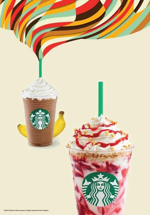 All new Strawberry Cheesecake Frappuccino and Fresh Banana & Mocha Frappuccino in stores today! http://t.co/LoYbzNEN8M
