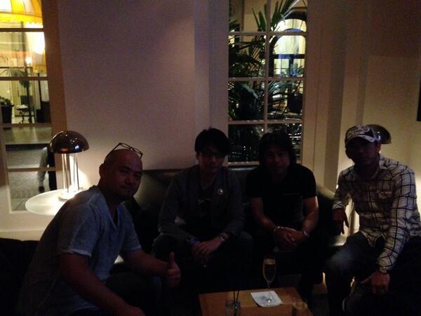 Tonight's dinner - @HIDEO_KOJIMA_EN @PG_kamiya @PG_minami and @shinji_mikami http://t.co/exYRSG8UaZ