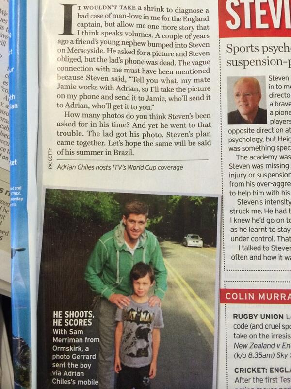 """Steven's plan came together"" This Steven Gerrard/young fan story as told by Adrian Chiles in @radiotimes is lovely. http://t.co/tKSjZnnirt"