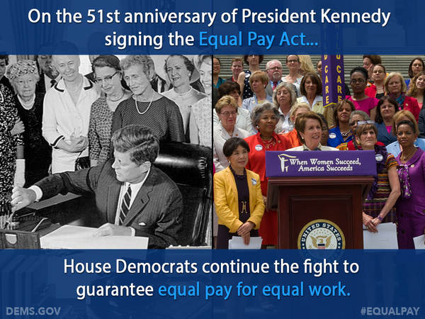 Equal Pay Act was enacted 51 years ago today, but women are still fighting for equal pay. RT if you support #EqualPay http://t.co/8vleOIvk32