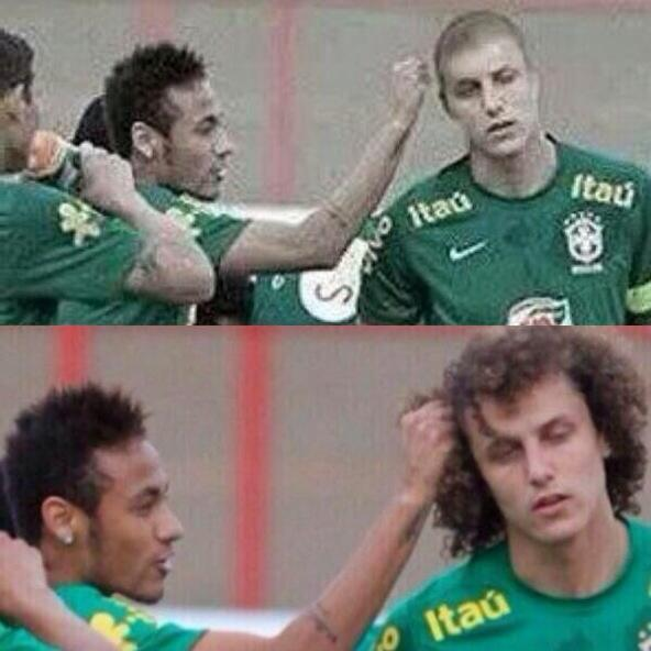 Bpy8JWqCUAEWNOl Sideshow Bobs Curls remain intact! Pictures of Brazils David Luiz with shaved head are a hoax by Olé do Brasil