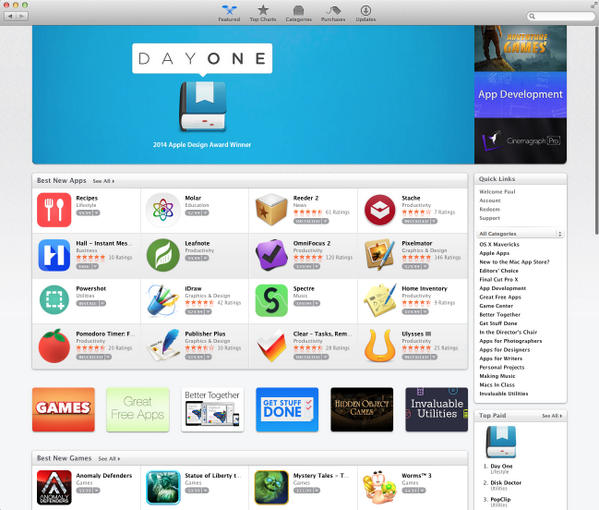 For the first time, Day One is the #1 Top Paid App on the Mac App Store. http://t.co/MyzCUL9zPB
