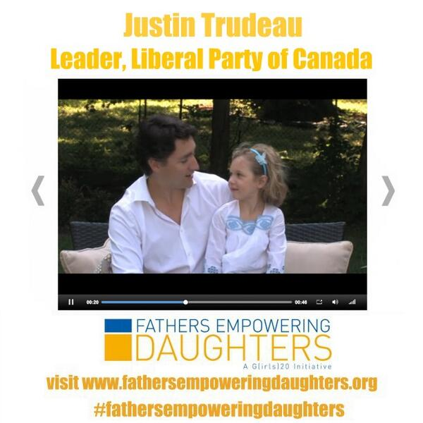 .@JustinTrudeau understands the importance #fathersempoweringdaughters! See his vid at http://t.co/rLha74Mp2h http://t.co/cWFSpw6Wqc
