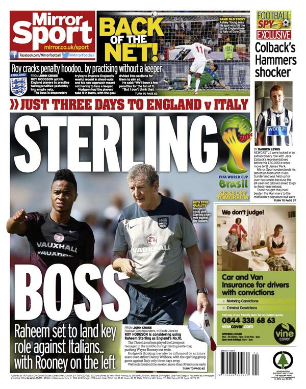 BpzI4wECUAAM9Kh Raheem Sterling set to start for England v Italy as Danny Welbeck suffers injury setback [Backpages]