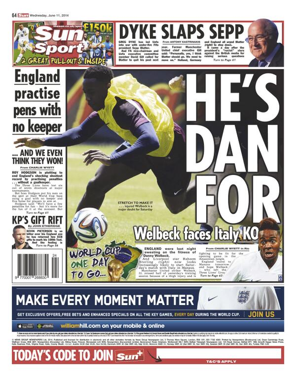 BpzJ7b CUAAL57x Raheem Sterling set to start for England v Italy as Danny Welbeck suffers injury setback [Backpages]