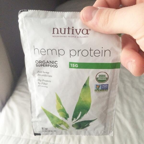 @nutiva hemp #protein starts today. A different flavor for sure but a great product. http://t.co/Y8zBciriUv