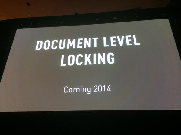 Huge announcement: Document level locking is coming. @eliothorowitz demoing now at #mongodbworld http://t.co/Lqv2SbLiMd