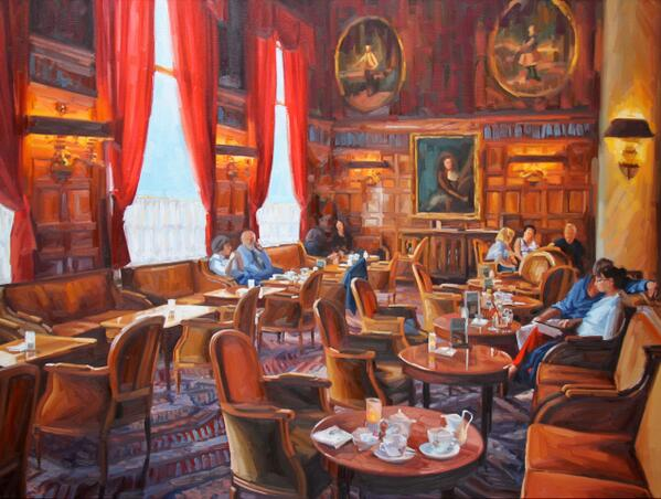 Here is a #painting I just competed of Le Relais Bar @NegrescoHotel in #Nice #France. #art http://t.co/y6adPPuDxO