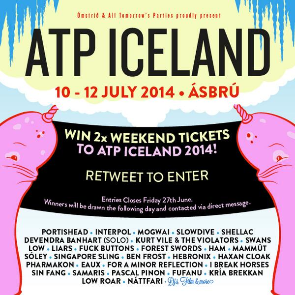 Win a double pass to ATP Iceland. *RETWEET TO ENTER* Closes this Friday 27th June. http://t.co/5ZQyfDyJpm #atpiceland http://t.co/c9BZCukejy