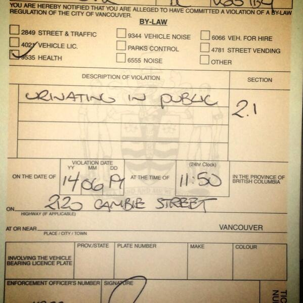 Bottle of water: $2. Ticket for peeing on #VPD HQ: $250. Caught in the act by three officers: priceless. http://t.co/O41TcFAaIE