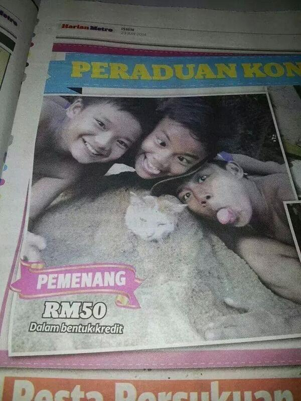 Do you think this picture deserves to win? I don't think so Harian Metro. This is cruel. http://t.co/A7L9Qru7ii