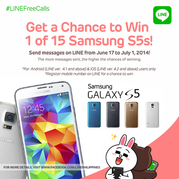 Get a chance to win any of 5 Samsung Galaxy S5 by making free calls on Line. #LINEFreeCalls http://t.co/KjkQe85GhO