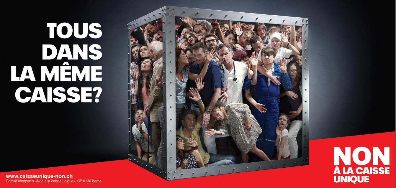 Das Sujet für die Romandie wird präsentiert. Nein zur #Einheitskasse http://t.co/nDSN9bVflj