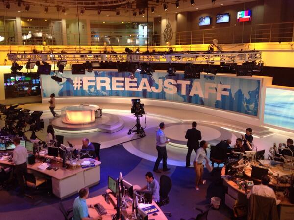 The Al Jazeera newsroom right now #freeajstaff http://t.co/OuEaAMJCd1