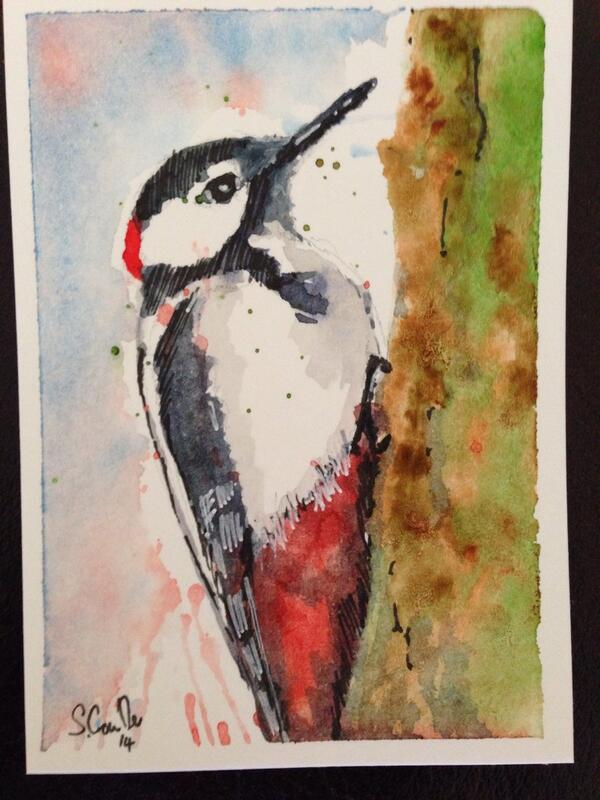 """ACEO painting. First watercolour of the day. 3.5"""" x 2.5"""" http://t.co/EnBB76bPlT"""