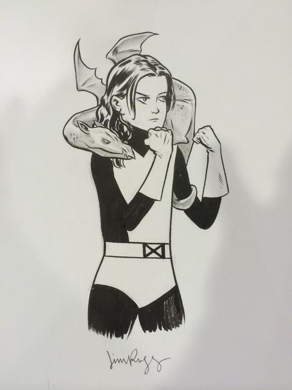 Kitty Pryde & Lockheed #heroescon commission http://t.co/g6ElqaHjGQ