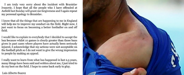 "The ""apology"" from Suarez where he ""wants to learn"" from biting Ivanovic. I guess he did learn how to bite better... http://t.co/CA4LnV92fO"
