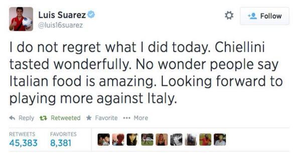 """Este es  el tuit borrado de la cuenta de @luis16suarez que pocos alcanzaron a ver http://t.co/iZGpPws8yW"""""""