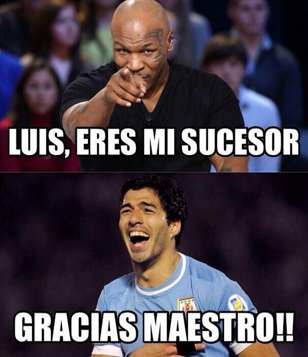 En el boxeo suspendieron un año a @MikeTyson por morder a @holyfield. Suspenderá FIFA a Luis Suárez? http://t.co/ucvZ2j8lZy