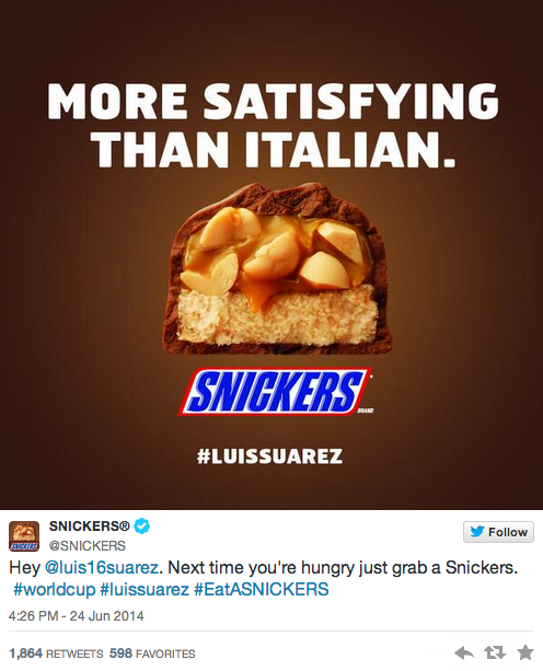LOOOL RT @RachieVPA: brands weighed in on the Luis Suarez biting incident at the #WorldCup: http://t.co/xVAeAkUx6l http://t.co/RDuYQ6ELXb