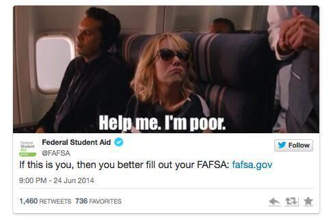 Hey @FAFSA - seriously?!?! Looks like you need to put your social marketing on deferment for a few months. http://t.co/uE0bfdxU4H