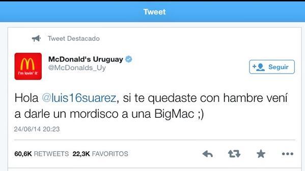 El uruguayo Luis Suárez muerde al italiano Giorgio Chiellini… y McDonalds plantea si se quedó con hambre #Mundial2014 http://t.co/gq24nBYlIy