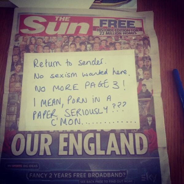 Return to sender no sexism here @NoMorePage3 http://t.co/r3lTvaCPlQ