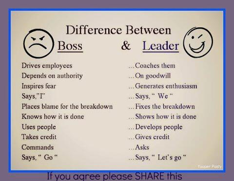 Which are you? A #boss or a #leader? http://t.co/aHvmA0xQMC